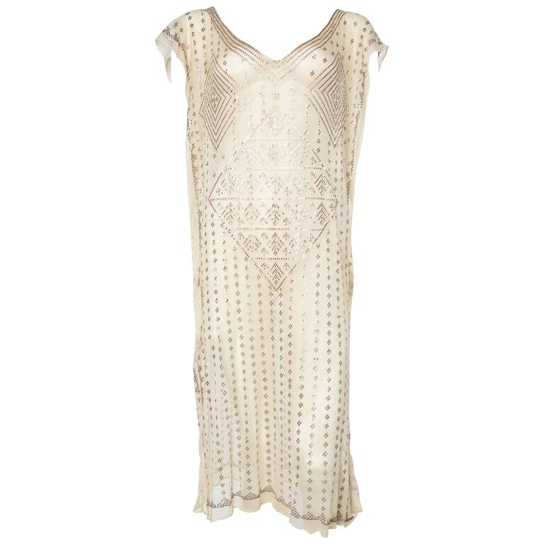 1920s Egyptian Assuit Net and Silver Dress