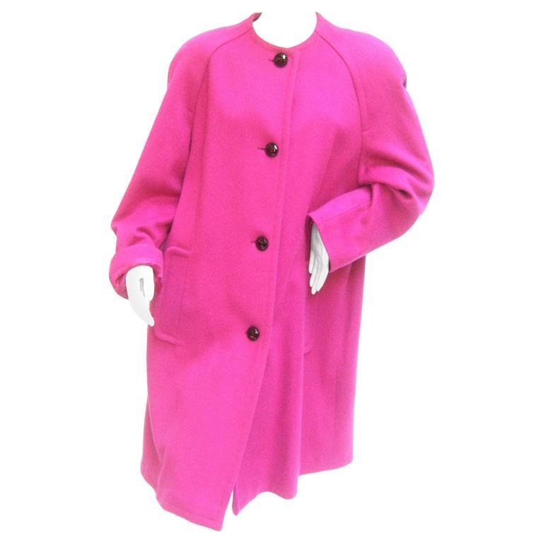 Bill Blass Bold Fuchsia Wool Coat c 1980s