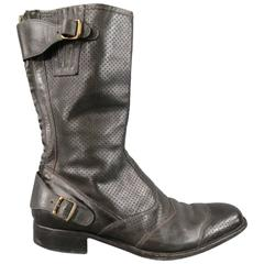 BELSTAFF Size 12 Black Perforated Leather ROADMASTER Boots