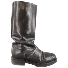 Men's ANN DEMEULEMEESTER Size 8 Black Leather Tall Boots