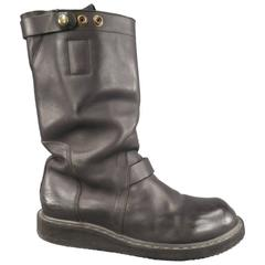 RICK OWENS Size 10 Black Leather Creeper Sole Boots