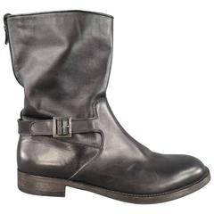 GIORGIO ARMANI Size 11.5 Black Leather Biker Boots