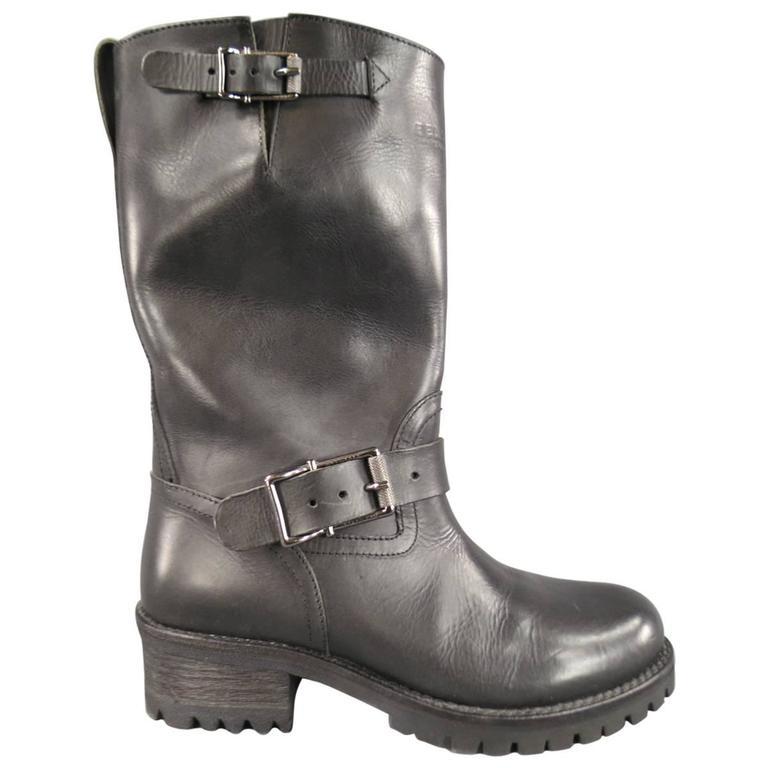 Men's BELSTAFF Boots - Size 7 Black Leather FULHAM MOTO Biker Boots For Sale