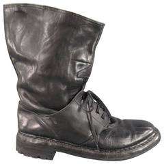 BURBERRY PRORSUM Size 11.5 Black Leather Shoe Boots