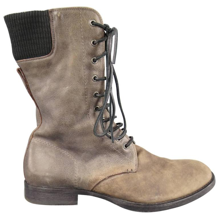 neil barrett men s taupe distressed leather lace up zip calf boots
