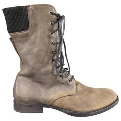 Men's NEIL BARRETT Size 11 Taupe Distressed Leather Lace Up Zip Calf Boots