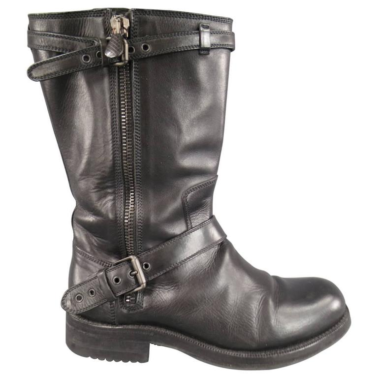 Men's BOTTEGA VENETA Size 9 Black Leather Belted Biker Zip Calf Boots