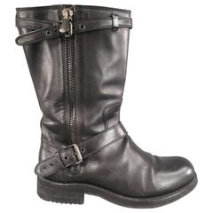 BOTTEGA VENETA Size 9 Black Leather Belted Biker Zip Calf Boots