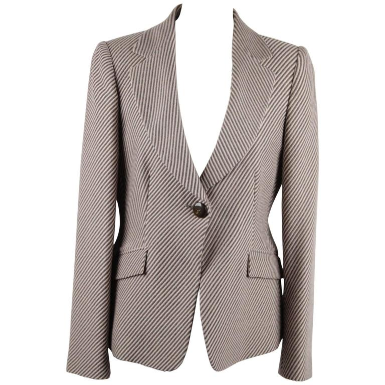 ARMANI COLLEZIONI Striped Wool & Cashmere BLAZER Jacket SIZE 44 For Sale