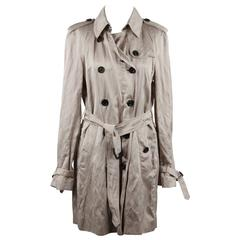 BURBERRY Beige Washed Viscose Satin TRENCH COAT Double Breasted w/ BELT 8