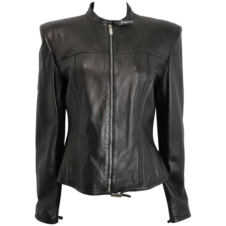 Gucci by Tom Ford Black Lambskin Leather Jacket For Sale