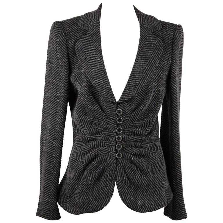 ARMANI COLLEZIONI Gray Textured Wool Blend BLAZER Jacket w/ DRAPING Size 44