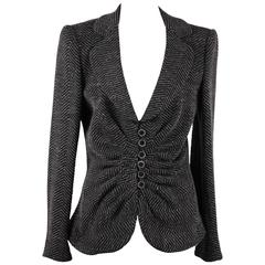ARMANI COLLEZIONI Gray Textured Wool Blend BLAZER Jacket w/ DRAPING Size 44