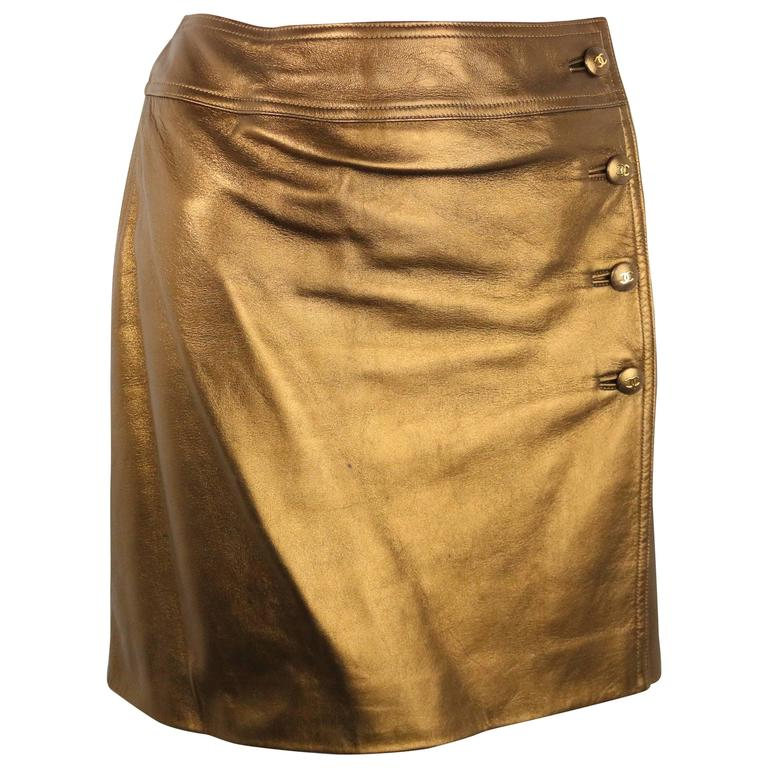 Chanel Bronze Metallic Lambskin Leather Wrap Skirt  For Sale