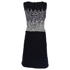 Beautiful Vintage 1950s Black and Silver Sequined Crepe 50s Wiggle Shift Dress