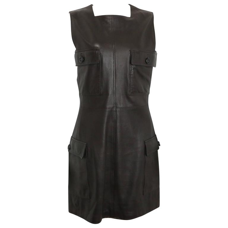 Gianni Versace Brown Leather Dress