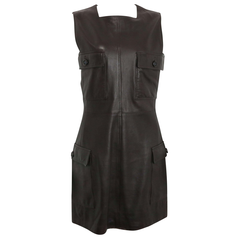 bc1b3e2e4ca Gianni Versace Black Lambskin Leather Medusa Sleeveless Dress For Sale at  1stdibs