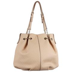 TOD'S Beige Embossed Leather BUCKET Shoulder Bag TOTE Shopping Bag