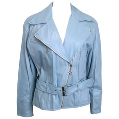 Escada Blue Leather Belted  Biker Jacket