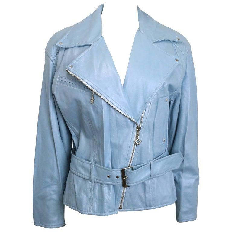 Escada Blue Leather Belted  Biker Jacket For Sale
