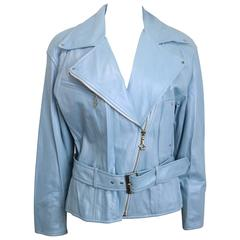 Escada Blue Leather Biker Jacket