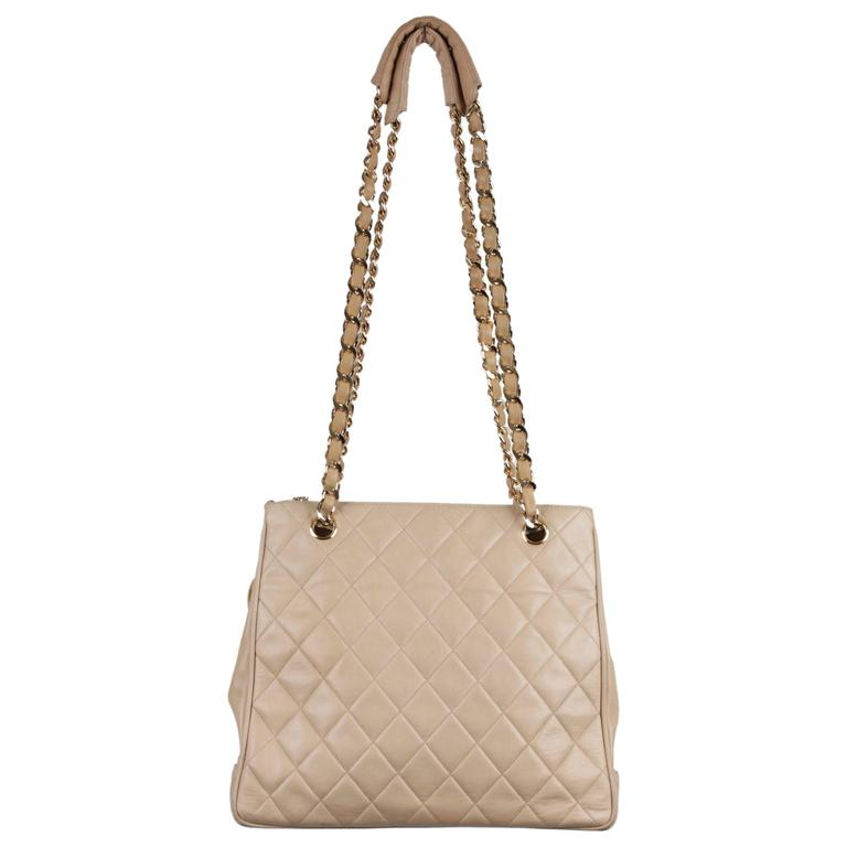 Chanel Vintage Beige Quilted Leather Tote Shoulder Bag W Chain Strap For
