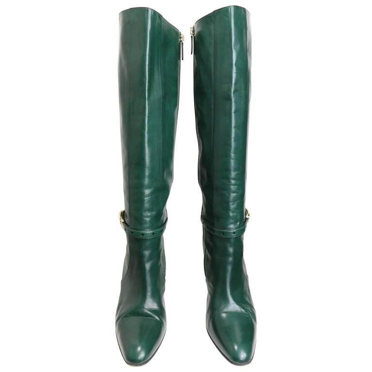 Gucci Green Leather Boots