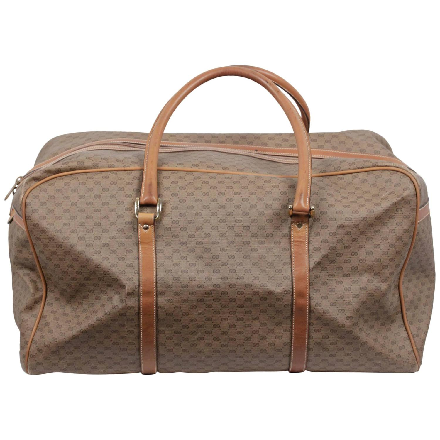 db433dca6 GUCCI Vintage Tan GG MONOGRAM Canvas WEEKENDER Travel Bag at 1stdibs