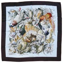 Hermes Vintage Gibiers Silk Twill Carré Scarf by Henri de Linares