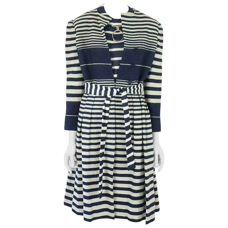 Pauline Trigere Navy and Ivory Striped Wool Dress/Coat & Belt - 8- Circa 60s