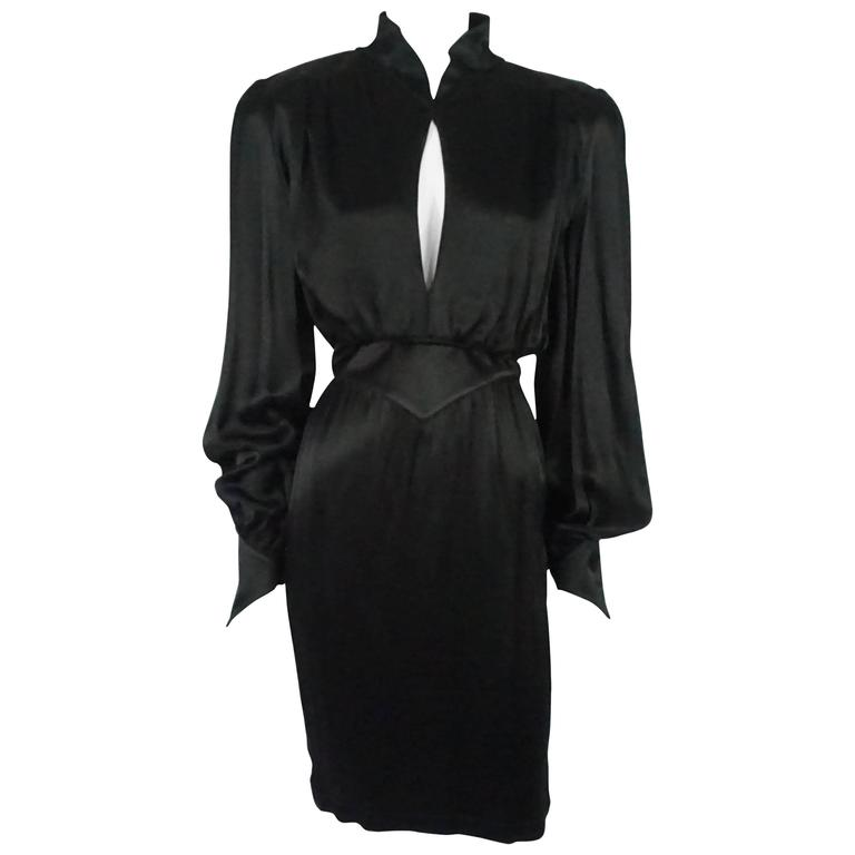 Thierry Mugler Black Satin Dress with Back Bow - 40 - Circa 1980s 1