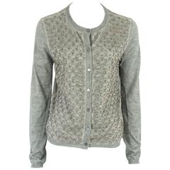 Valentino Gray Cotton-Knit Cardigan with Beaded Design - M