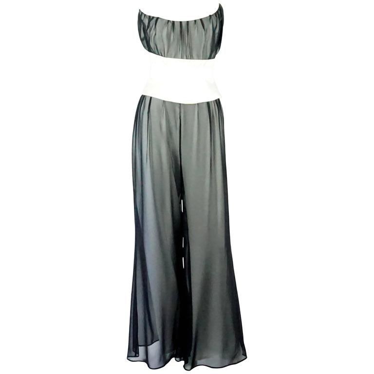 Thierry Mugler Black & White Palazzo Pants, Cropped Bustier & Belt-4-Circa 80's 1