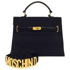 "Moschino Black Nylon ""Kelly"" Bag With Gold Hardware"