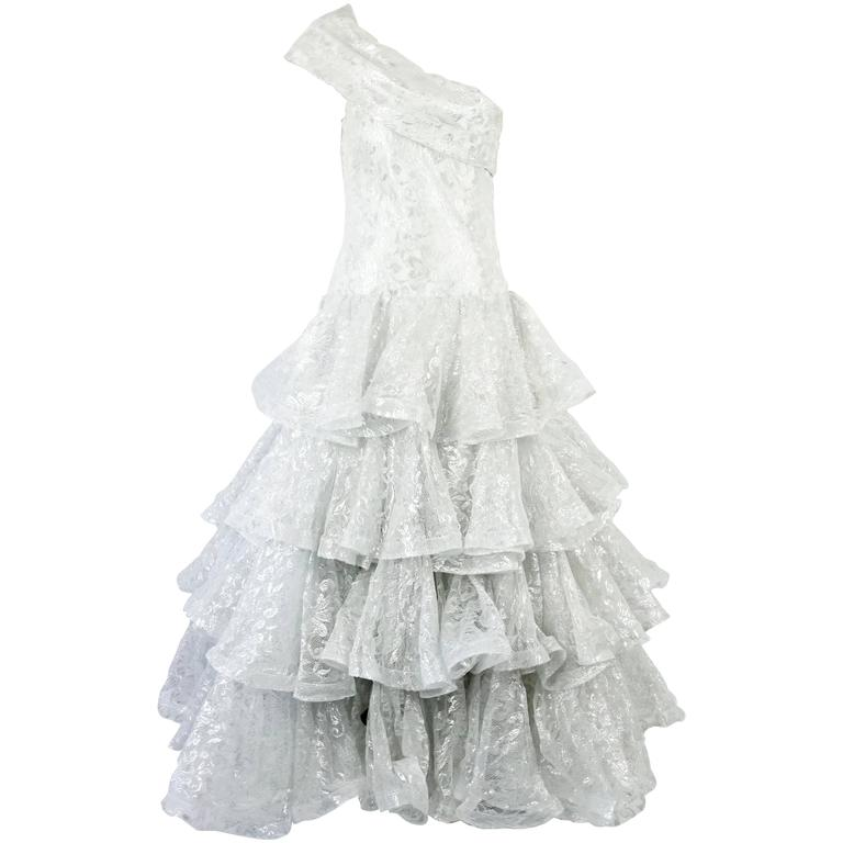 Scaasi White and Silver Silk Lace One-Shoulder Ruffled Ball Gown-10-Circa 90's