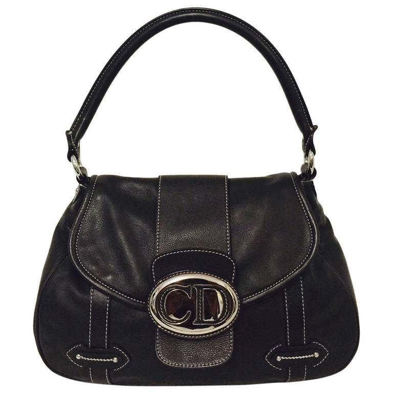 Christian Dior Chocolate Leather Flap Shoulder Bag With Silver Tone Hardware  1
