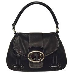 Christian Dior Chocolate Leather Flap Shoulder Bag With Silver Tone Hardware