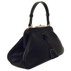 Prada Black Polished Leather Frame Handbag W Antiqued Silver Tone Hardware