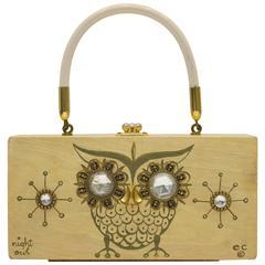 1960's Enid Collins 'Night Owl' Wood Box Bag