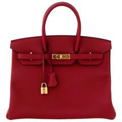 Hermès Rouge Grenat 35 cm Togo Birkin- Wine Color, GHW