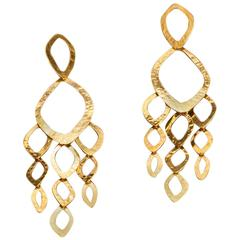 Herve van der Straeten Gilded Brass Cascade Pierced Earrings