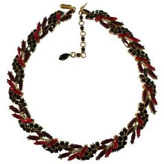 1950s TRIFARI Navette Red and Black Circlet Necklace