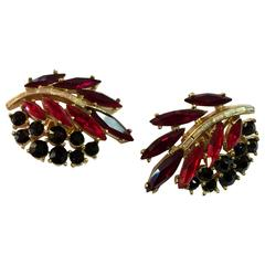 1950s TRIFARI Navette Red and Black with White Baguette Clip Earrings