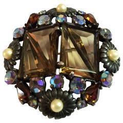 1950s Rare SCHIAPARELLI Triangular Stone Topaz Pearl Borealis Stone Brooch Pin