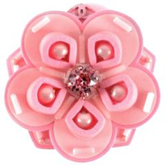 Chanel Camellia Pearl Pin - New - 2016 - Pink Crystal Brooch Silver Charm CC 16C