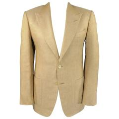 Men's TOM FORD 40 Regular Tan Biege Linen/Silk Peak Lapel 2 Button Sport Coat