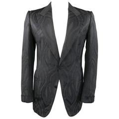 TOM FORD 44 L Black Paisley Brocade Cotton/Silk Peak Lapel 2 Button Sport Coat