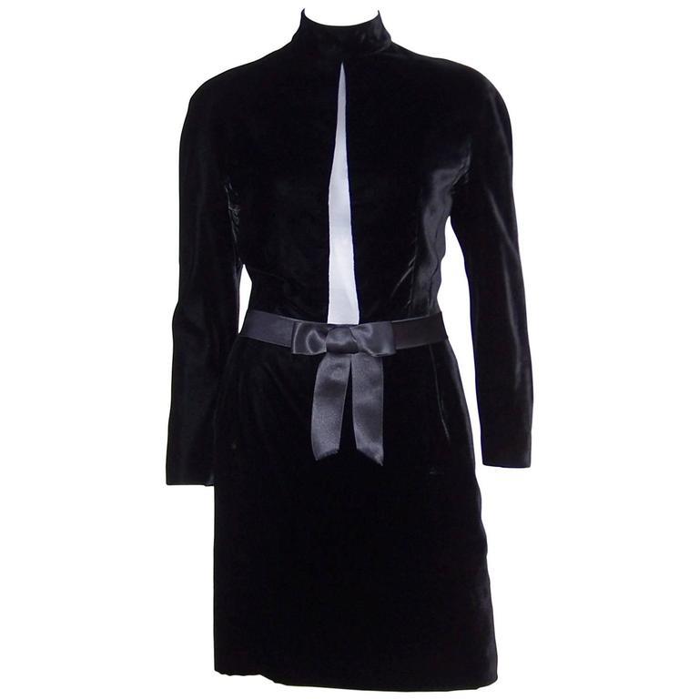 Mod 1980's Genny Peek-A-Boo Plunge Velvet Dress