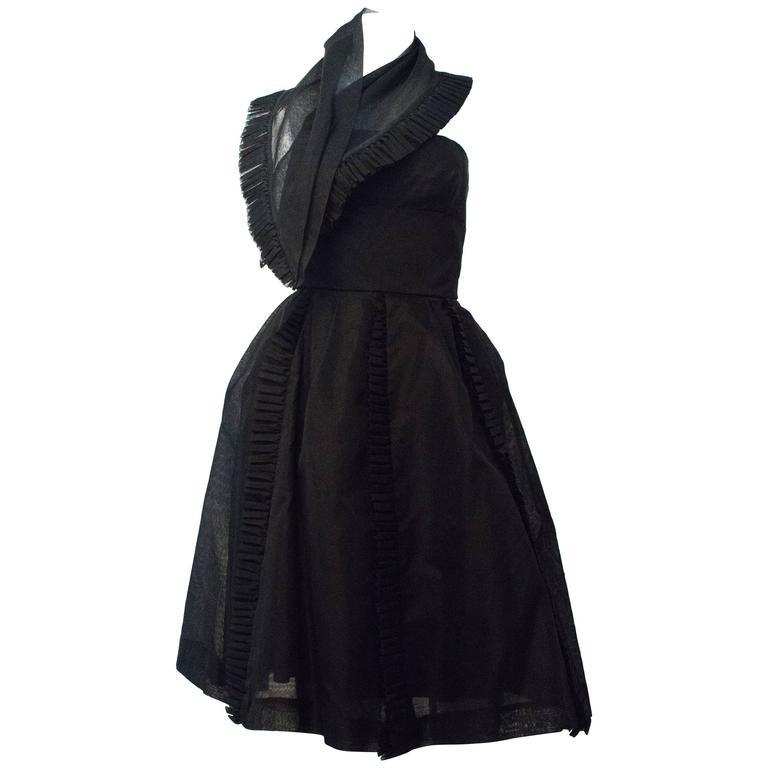 50s Black Jeunes Filles Organza Dress with Scarf 1