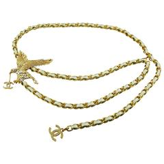 Chanel Rare Jewelled Eagle White and Gold Runway Belt or Necklace